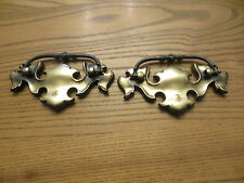 """Vintage Antique Hardware Aged Brass Chippendale Batwing Drawer Pull 3"""" Center"""