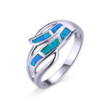 Ring Welle Sterling Silber 925 mit blauem Opal Feueropal Gr 18