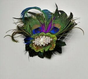 Vintage Peacock Feather and Rhinestone Hair decoration Fascinator hat decoration
