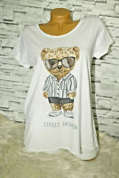 Italy New Collection T-Shirt Teddy Strass Gr.36 38 40 42 blogger Vintage weiß