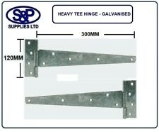 """Pair Strong Tee Hinges Heavy Duty Gate Shed Garden 12"""" / 300MM GALVANISED STEEL"""