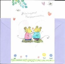 Two Cute Mice In Love - Hearts - Happy Anniversary Greeting Card By Hallmark