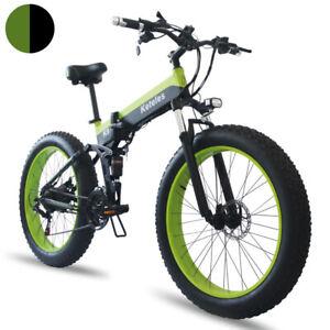 800W E Bike 26 inch 4.0 Fat Tyre 48V Folding Electric Mountain Bike 21 Speed