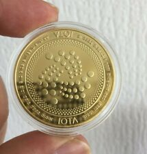 24k Gold Plated IOTA Crypto Currency coin 1.2 oz Novelty collectable Coin