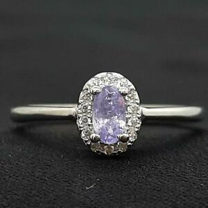 World Class .35ctw Tanzanite & Diamond Cut White Sapphire 925 Ring Size 6.5