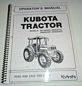 Kubota M5700HDC M6800HDC M8200HDC M9000HDC Tractor Operators Manual OEM 8/02