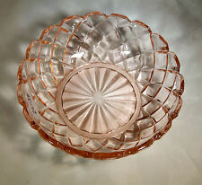 "HOCKING GLASS CO. WATERFORD or WAFFLE PINK 4-3/4"" DIAMETER BERRY BOWL!"