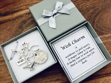 LUCKY SIXPENCE, good luck wish charm, wishing, wishbones, lamp, star, gift box