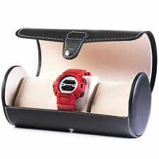 Dalamia Black Leatherette Portable Watch Traveler's Roll Holder with Cushions