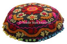 "Round Suzani Cushion Cover 16"" Embroidered Pillow Cases Bohemian Throw Cushions"