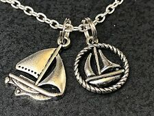 "Ocean Sailboats Mix D Charm Tibetan Silver 18"" Necklace"