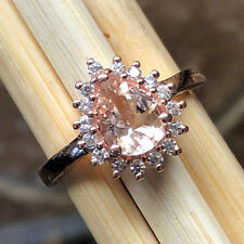AAA Natural Peach Morganite 14k Rose Gold Over Sterling Silver Engagement Ring 7