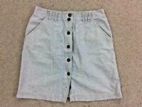 Liz Claiborne LIZWEAR skirt womens size 12P petite blue white stripe button down