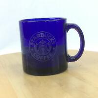 Starbucks Cobalt Blue Glass Mermaid Siren Coffee Mug Cup *FLAW* USA