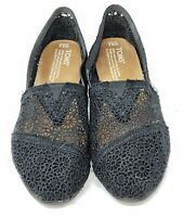 Toms Womens Classic Alpargata Black Lace Mesh Eyelet Slip On Loafers Size 9.5