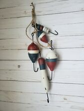 String of 5 Wooden Buoys Fishing Floats Distressed Finish
