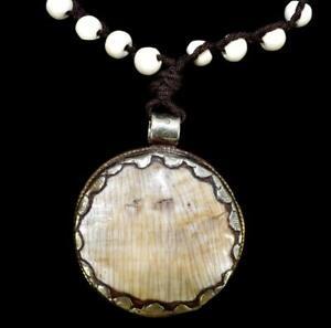 Tibetan Necklace Silver Chank Pendant Repoussee SALE WAS $29.00