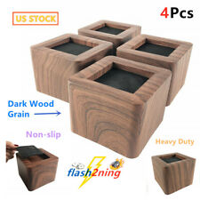 "4P 3"" Inch Heavy Duty Dark Wood Tone Bed Risers Furniture Sofa Risers Lifters L"