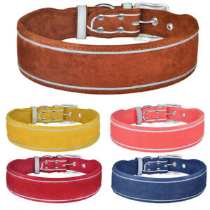 2 Inch Wide Leather Dog Collar Soft Reflective Adjustable Dog Control Bulldog