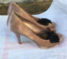 Ladies Girls Pink Red Herring Shoes Peep Toe Size 6
