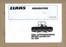 CLAAS Wirbelmäher WM 290 F 270 F   Anbauanleitung