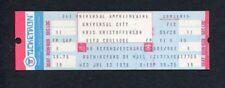 1978 Kris Kristofferson Rita Coolidge Unused Concert Ticket Universal City CA