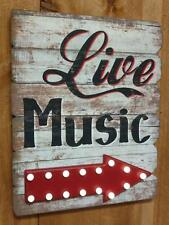 Large LIVE MUSIC Sign with Lighted Arrow - Perfect for Business Band or Home