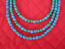 Howlite Necklace and Earrings Three-Strand Green and Blue