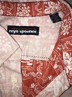 Reyn Spooner Vintage Reverse Print Orange Hawaiian Shirt Aloha Floral Flag