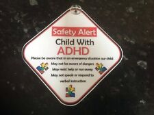 car sign child with ADHD on board safety sign