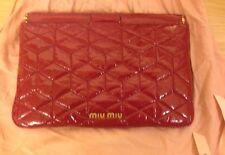 MIU MIU Authentic RED  Matelasse Ruche Leather Clutch Wristlet Wallet. Rare