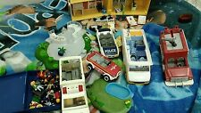 Playmobil Fire truck RV House Helicoptor Ambulance EMT Police car + mini figures