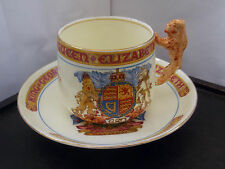 PARAGON CUP AND SAUCER FOR THE CORONATION OF KING GEORGE V1 IN 1937  LION HANDLE