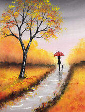 LIMITED EDITION PRINT WITH MOUNT BY SARAH FEATHERSTONE, Autumn Walk,Red Umbrella