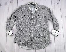 Nick Graham Casual Shirt Black White Hypnotic Pattern Flip Cuff Men Size XL