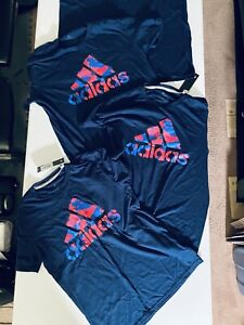 Lot of 4) Adidas BLUE size XL L M S  SS T Shirt Graphic FT8583 470 BOS CAMO Tee