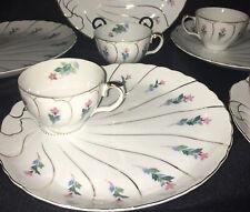 6 Vintage Luncheon Snack Sets Welled 10� Plate Cup Pink Blue Floral Gold Japan