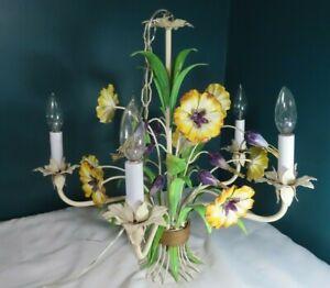 Vintage - Beautiful 5 arm TOLEWARE Chandelier - Floral Bouquet  - GOOD