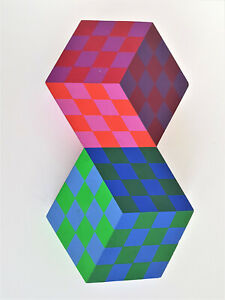 """Victor Vasarely-""""AXO""""-Wood Sculpture-1980- Edition 50"""