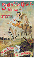 "1895 Vintage Bicycle Posters,Stoewer Greif, BIKE Advertisement 24""x14"" horse"