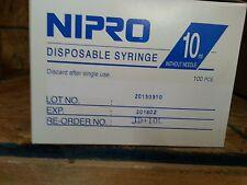 Nipro 10 cc Luer Lock Sterile Syringe without Needle, Box Of 100