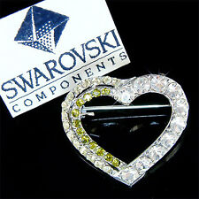 w Swarovski Crystal Green Love HEART Valentine Bridal Wedding Pin Brooch Jewelry