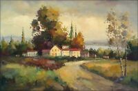 Quality Hand Painted Oil Painting, Impression Tuscany Italy Landscape, 24x36in