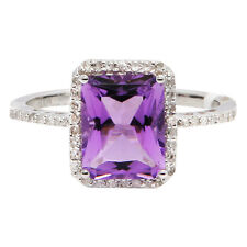 14K WHITE GOLD PAVE DIAMOND HALO PURPLE AMETHYST COCKTAIL ENGAGEMENT RING SZ 5