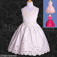Satin Halter Dress Wedding Flower Girl Bridesmaid Party Occasion Age 3y-10y 021