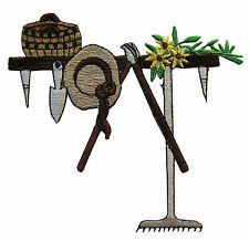 #4168 Tools for Garden w/Yellow Flower & Hat Embroidery Iron On Applique Patch