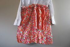 Floral Vintage Half Apron cotton/linen fabric hand made sewn embellished towel