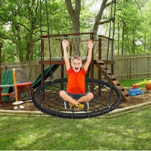 Kids Round Tree Swing Adjustable Nest Saucer Indoor Outdoor Garden Flying Seat