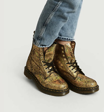 Dr. Martens 1460 Pascal Leather Boot in Gold Iridescent Crackle MSRP $175 size10