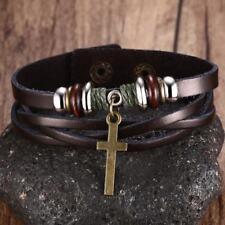 Fashion Vintage Cross Leather Bracelet Women Men Punk Wrap Charm Wristband Cuff